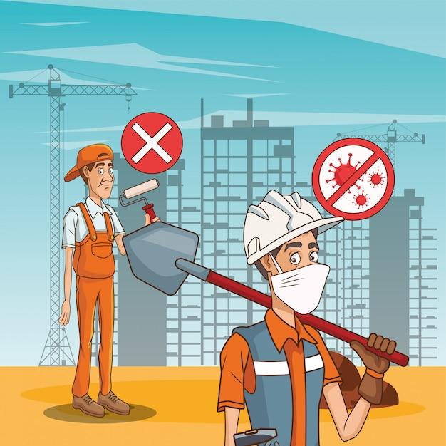 Bauherrenpaar mit gesichtsmaske Premium Vektoren