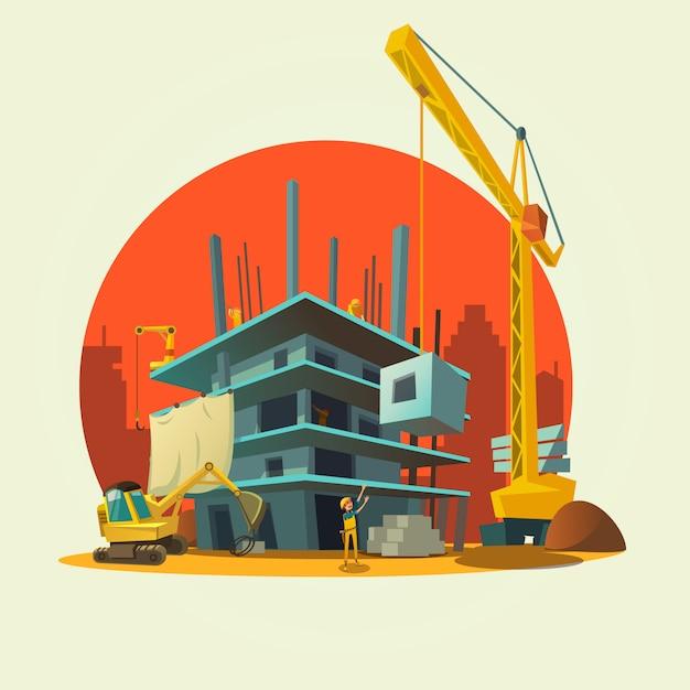 Baukonzept mit den retrostilkonzeptarbeitskräften und maschinen, die hauskarikatur aufbauen Kostenlosen Vektoren