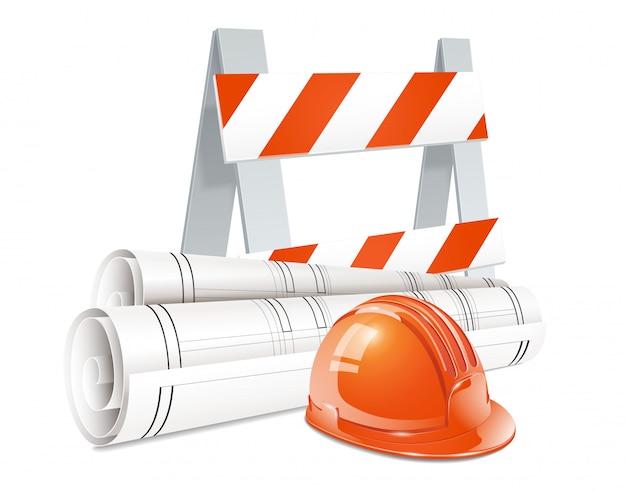 Baukonzeptsatz des orange sturzhelms der straßensperre und der rolle von realistischen elementen der technischen zeichnungen Kostenlosen Vektoren