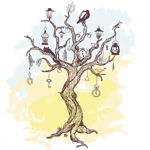 Baum hintergrund-design Kostenlosen Vektoren