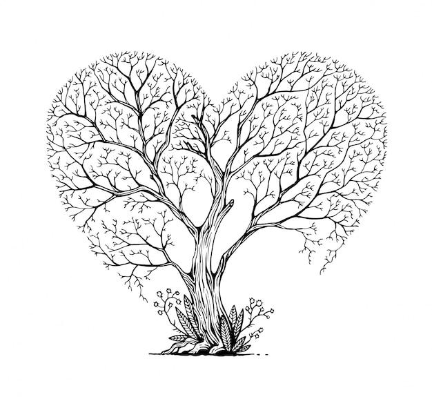 Baum in form von herzen. Premium Vektoren
