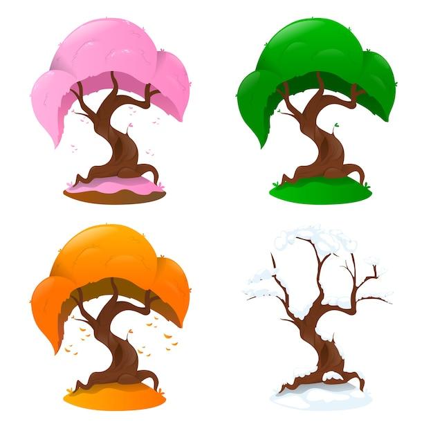 Baum in vier jahreszeiten auf weißem hintergrund Premium Vektoren