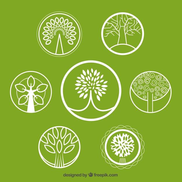 Baum-logos sammlung Kostenlosen Vektoren