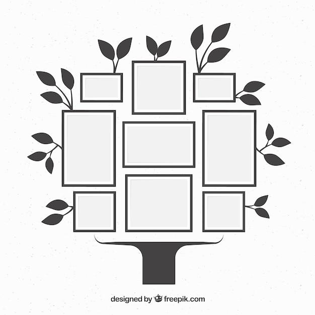 Baum Mit Rahmen An Der Wand In Der Flachen Art Download Der