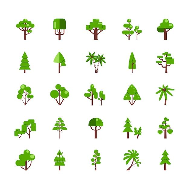 Baum-set-sammlung Premium Vektoren