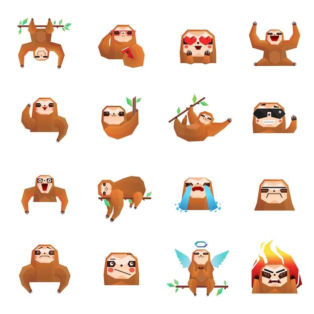 Baum-sloth-gekritzel-sammlung Kostenlosen Vektoren