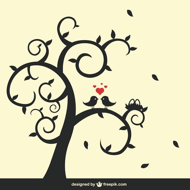 Baum und vögel silhouette Kostenlosen Vektoren