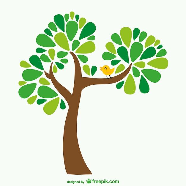 Baum und vogel-cartoon Kostenlosen Vektoren