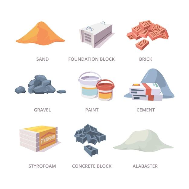 Baumaterialien. bauwerkzeuge stapel ziegel gips zement sand materialien sammlung im cartoon-stil Premium Vektoren