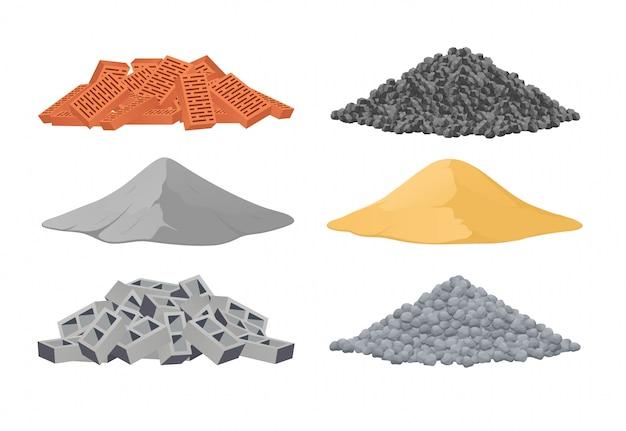 Baumaterialien, ein stapel ziegel, zement, sand, schlackenblöcke, steine auf weißem hintergrund. vektorillustration Premium Vektoren