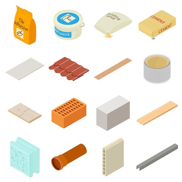 Baumaterialikonen eingestellt. isometrische illustration von 16 baumaterialien vector ikonen für netz Premium Vektoren