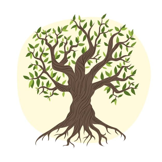 Baumleben mit herbstlaubhand gezeichnet Kostenlosen Vektoren
