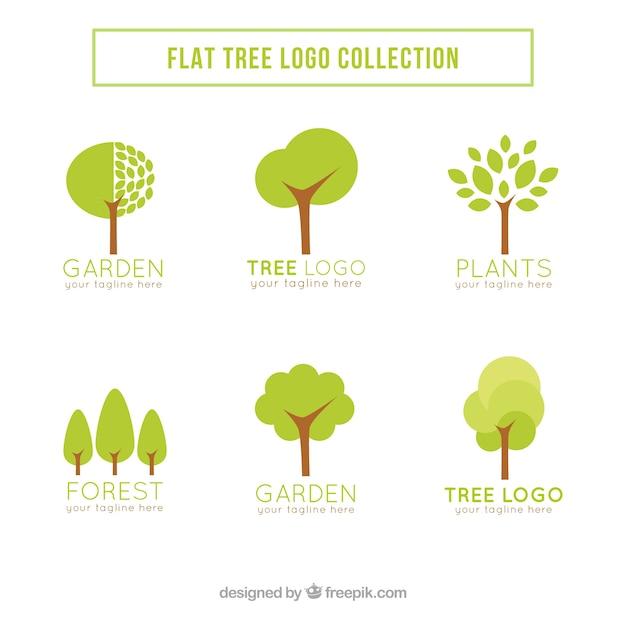 Baumlogosammlung in der flachen art Kostenlosen Vektoren