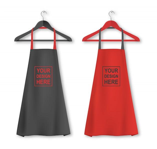 Baumwollküchenschürzenikone stellte mit kleiderbügelnahaufnahme auf weißem hintergrund ein. schwarze und rote farben. vorlage, modell für branding, werbung usw. koch- oder bäckerkonzept Premium Vektoren