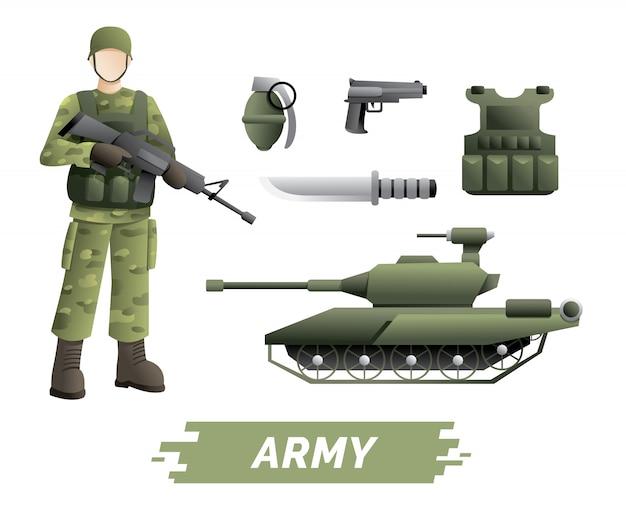 Bausatz für militärinstrumente Premium Vektoren