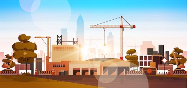 Baustelle bei sonnenaufgang Premium Vektoren