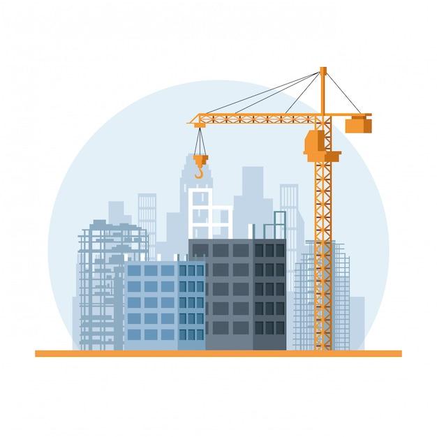 Baustelle cartoon Premium Vektoren