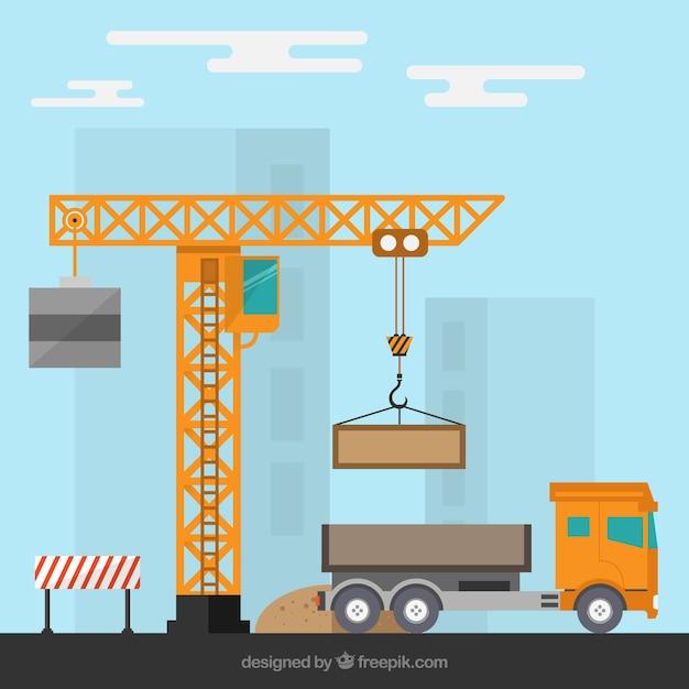 Baustelle mit einem Kran und einem LKW Kostenlose Vektoren