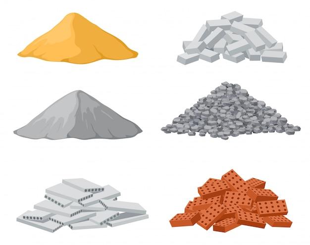 Baustoffpfähle. roter und kalkstein, zementhaufen. kiespfahl und stahlbetonplatten isolierten vektorsatz Premium Vektoren