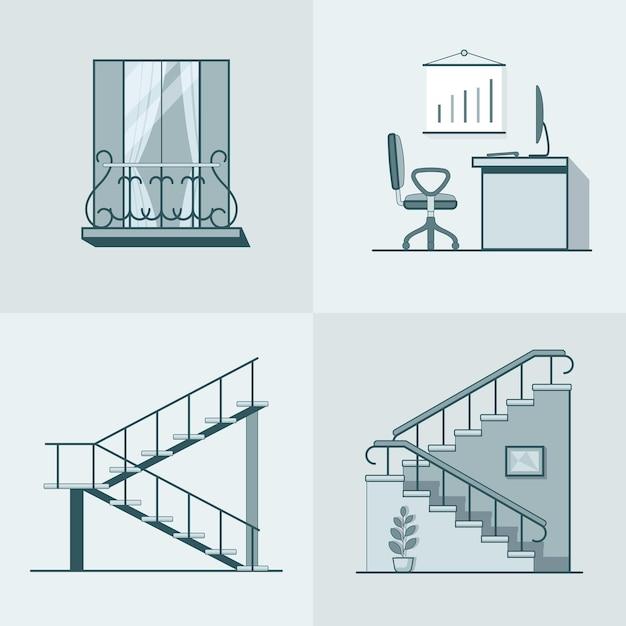 Bautisch büroarbeitsleiter leiter lineare gliederung architektur gebäudeelement gesetzt. Kostenlosen Vektoren