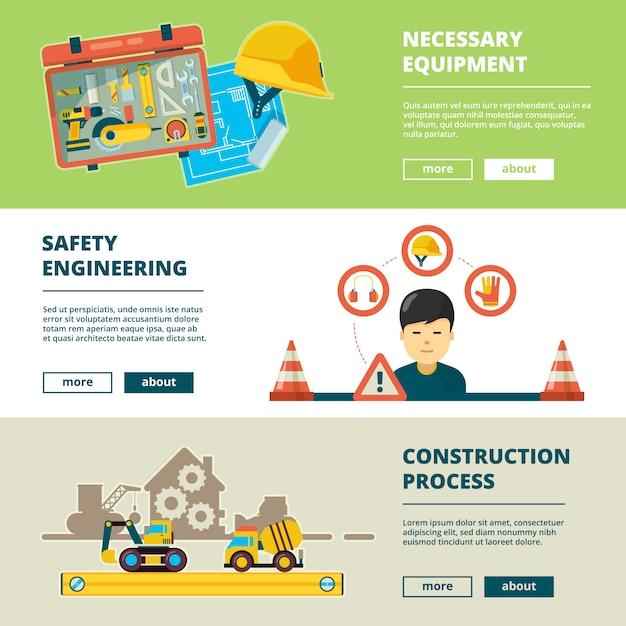 Bauwerkzeuge. ausrüstung für arbeiter hausreparaturtechnik artikel fabrikkonzept banner sammlung Premium Vektoren