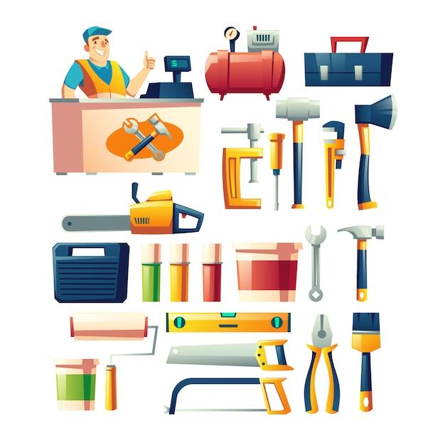 Bauwerkzeugspeicher-zusammenstellungskarikaturvektor Kostenlosen Vektoren