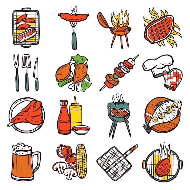 Bbq grill farbige icons set Kostenlosen Vektoren
