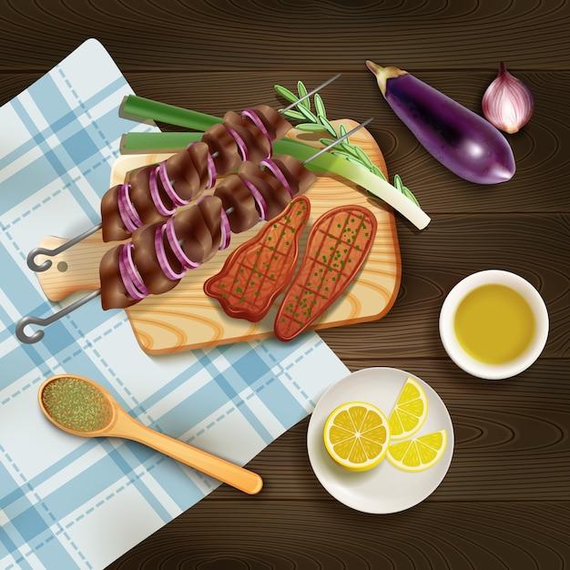 Bbq grillte steaks und kebab auf schneidebrett mit realistischer illustration der kräuter und des gemüses Kostenlosen Vektoren
