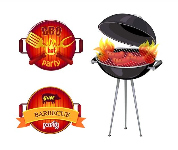 Bbq party barbecue elemente gesetzt Premium Vektoren