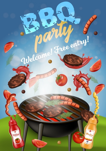 Bbq-party-fahne, grillmaschine mit fleisch. Premium Vektoren