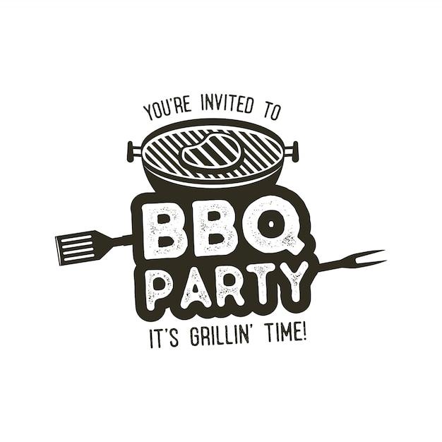 Bbq-party-typografie-plakatschablone im retro-alten stil. Premium Vektoren