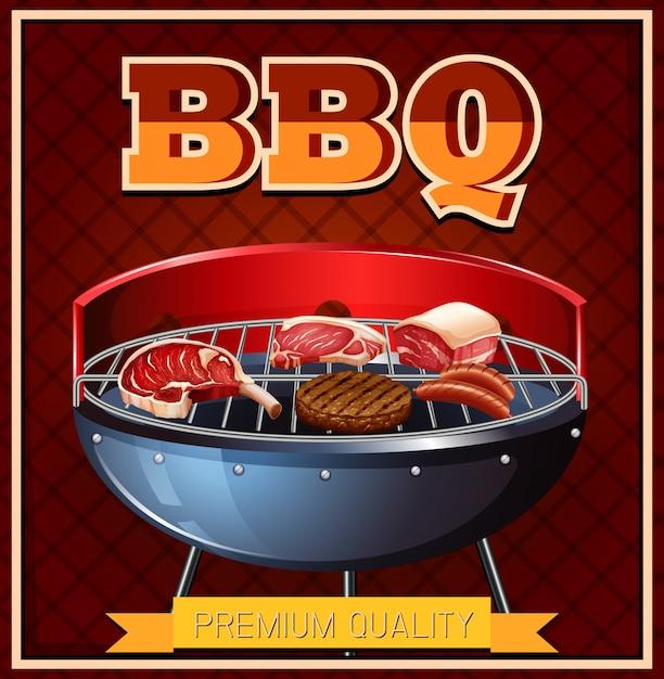 Bbq rindfleisch auf dem grill Kostenlosen Vektoren
