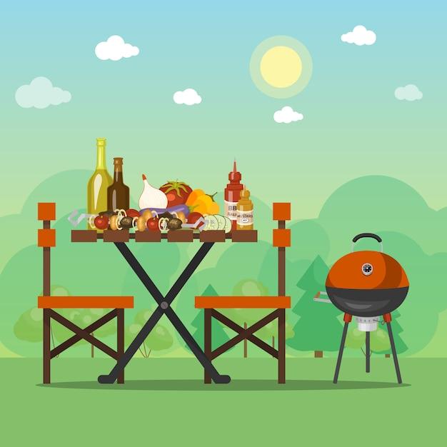 Bbq-sommerfest-vektorillustration. barbecue essen ist auf dem holztisch. grillen sie picknick mit geschmackvoller mahlzeit auf dem sonnigen feld nahe dem wald Premium Vektoren