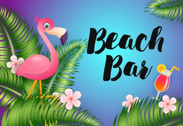 Beach bar schriftzug mit flamingo und cocktail Kostenlosen Vektoren