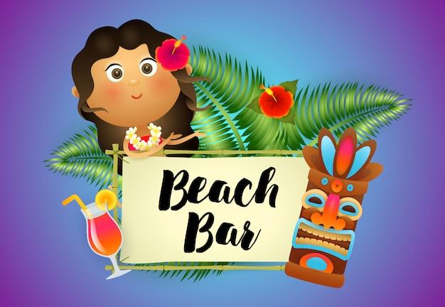 Beach bar schriftzug mit ureinwohnerin, cocktail und tiki maske Kostenlosen Vektoren