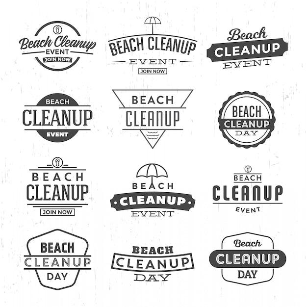 Beach cleanup logo festgelegt Premium Vektoren
