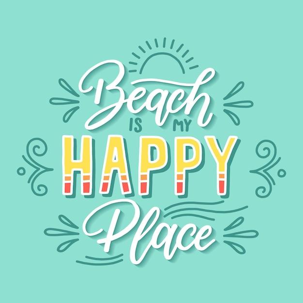 Beach happy place zitat schriftzug Kostenlosen Vektoren