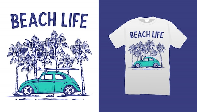 Beach life t-shirt design Premium Vektoren