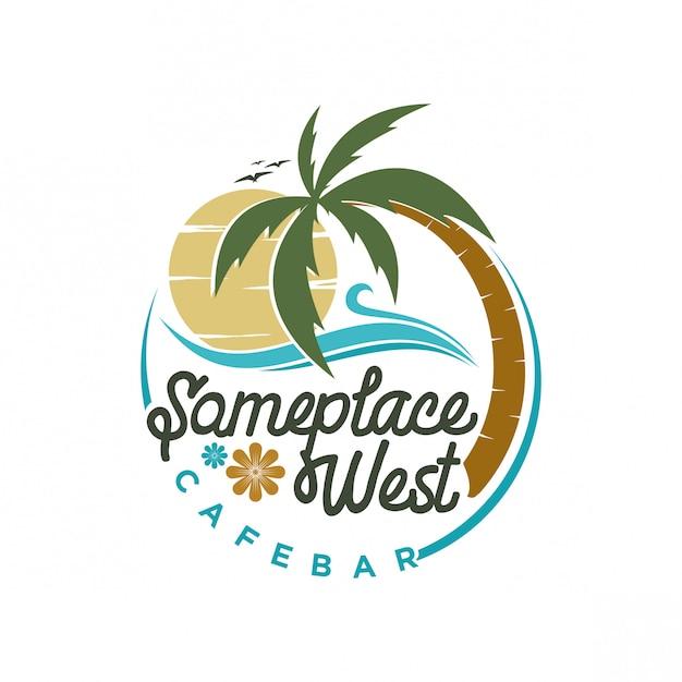 Beach-logo-design Premium Vektoren