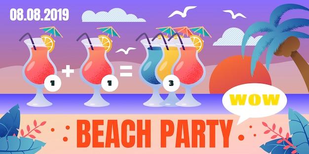 Beach party cocktails sonderangebot poster Premium Vektoren