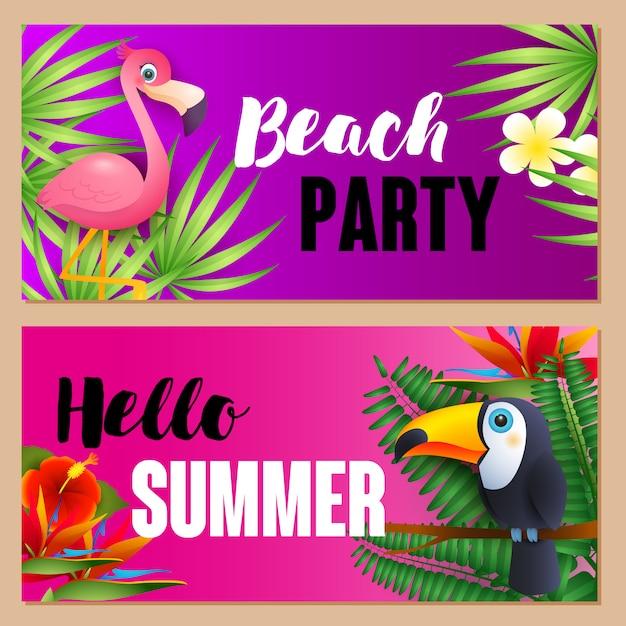 Beach party, hallo sommer schriftzüge mit exotischen vögeln gesetzt Kostenlosen Vektoren