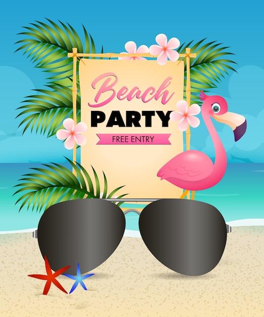 Beach party schriftzug, flamingo, blumen und sonnenbrille Kostenlosen Vektoren