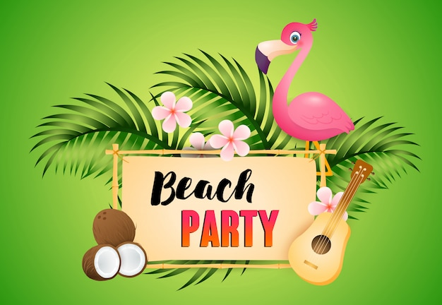 Beach party schriftzug mit flamingo, ukulele und kokosnuss Kostenlosen Vektoren