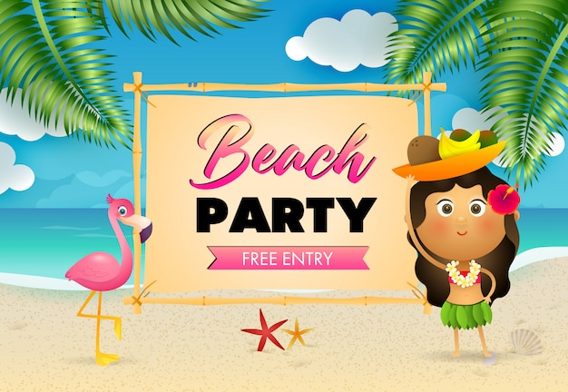 Beach party schriftzug mit ureinwohnerin und flamingo am strand Kostenlosen Vektoren