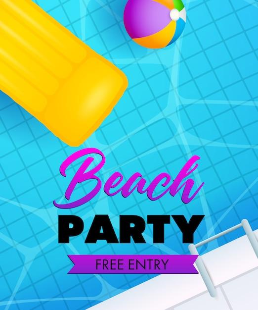 Beachparty schriftzug, schwimmbadwasser, luftmatratze und ball Kostenlosen Vektoren