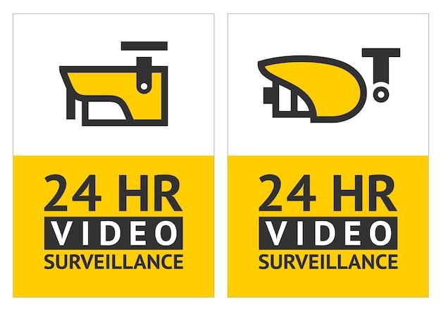 Beachten sie das videoüberwachungssymbol, den aufkleber Premium Vektoren