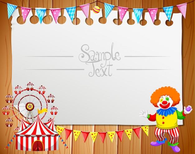 Beachten sie frame template design mit clown und zirkus Kostenlosen Vektoren