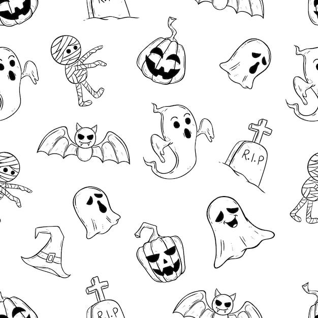 Beängstigende halloween-ikonen im nahtlosen muster mit gekritzelart Premium Vektoren