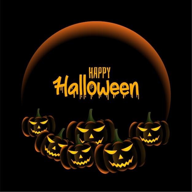 Beängstigende kürbisse auf glücklicher halloween-grußkarte Kostenlosen Vektoren