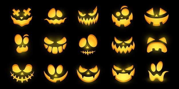 Beängstigende und lustige leuchtende gesichter von halloween-kürbis oder geist. sammlung. Premium Vektoren